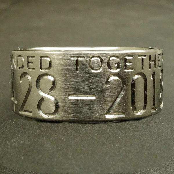 Custom duck band with two lines of engraving